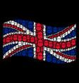 waving united kingdom flag pattern of terrorist vector image
