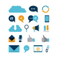 white background of tech share icons elements and vector image