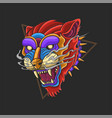 wild animal tiger head colorful vector image vector image