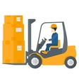 Worker moving load by forklift truck vector image