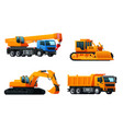 icons of heavy machinery industry trucks vector image