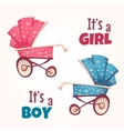 set of flat baby girl and boy carriage vector image