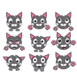 icons of smiley cat faces with paws vector image