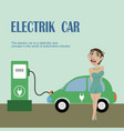 a girl stands near electric car vector image vector image