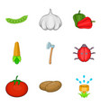 agriculture sector icons set cartoon style vector image vector image