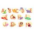 alphabet with exotic animals children abc vector image vector image