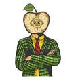 apple head man engraving vector image vector image