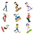 athlete performs skateboard stunts 9 high quality vector image