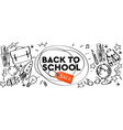 back to school sale horizontal banner doodle vector image