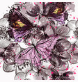 beautiful seamless pattern butterlfies and flowers vector image vector image