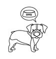 black contour with beagle dog thinkin food vector image