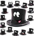 Black top hat cartoon isolated on white background vector image vector image