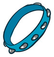 blue tambourine on white background vector image