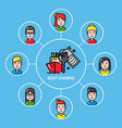 boat sharing concept with group of people vector image vector image