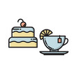 cake and tea cup bakery confectionary shop icon vector image vector image