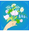 Card with bouquet of spring and summer flowers vector image vector image