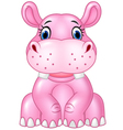 Cartoon baby hippo sitting isolated vector image vector image