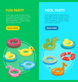 cartoon color swimming ring toy banner vecrtical vector image