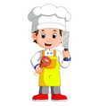 chef cook holding cleaver knife and meat smiling vector image vector image
