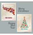 Collection of christmas vintage postage stamps vector image