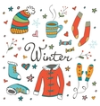 Colorful hand drawn winter collection vector image vector image