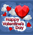 cut paper red valentine hearts abstract vector image