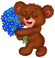 Cute little bear holding a bouquet vector image vector image