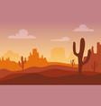 desert sunset silhouette landscape arizona or vector image vector image