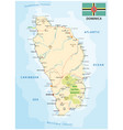 dominica road map with flag lesser antilles vector image