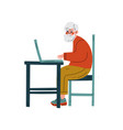 elderly man working with laptop computer bearded vector image vector image