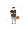 fat man eating fast food flat character design vector image
