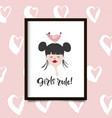 girls rule poster vector image vector image