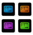 glowing neon identification badge line icon vector image