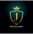 golden letter j monogram crown logo concept design vector image vector image