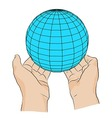 Hand with globe Symbol of peace vector image
