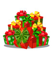 heap of gift boxes with ribbon bow colorful vector image vector image