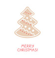 holiday greeting card with gingerbread - spruce vector image