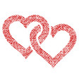 linked hearts fabric textured icon vector image vector image