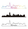 Manhattan skyline linear style with rainbow vector image vector image