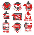 meat products butcher shop or house isolated vector image