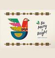 merry christmas scandinavian bird greeting card vector image vector image