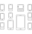Mobile phones Cellphones and smartphones icons vector image vector image