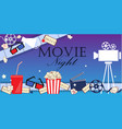 movie flyer background with cinema attributes vector image
