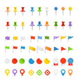Navigation pins flags and insignias collection vector image