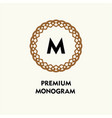 ornamental round monogram template for creating vector image vector image