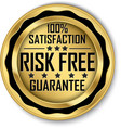 risk free 100 satisfaction guarantee gold label vector image vector image