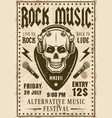 rock music festival invitation vintage poster vector image