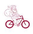 santa claus riding bicycle side cartoon vector image