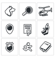 Search prosecution escaped convict icons set vector image vector image
