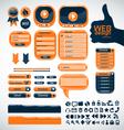 Set orange elements for web design vector image